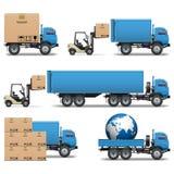 Os ícones dos caminhões da expedição do vetor ajustaram 2 ilustração do vetor