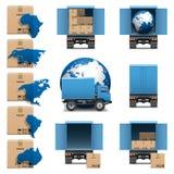 Os ícones dos caminhões da expedição do vetor ajustaram 3 Fotografia de Stock