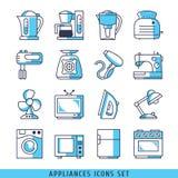 Os ícones dos dispositivos ajustaram linhas ilustração azul do vetor da cor Foto de Stock