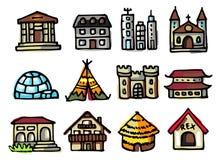 Os ícones dos edifícios ajustaram-se Imagem de Stock