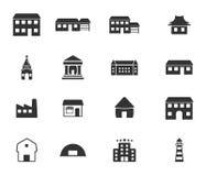 Os ícones dos edifícios ajustaram-se Foto de Stock Royalty Free