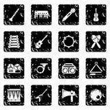 Os ícones dos instrumentos musicais ajustaram o grunge ilustração royalty free