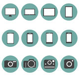 Os ícones dos multimédios da nova tecnologia ajustaram o estilo na moda f Foto de Stock