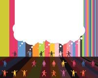 Os ícones dos povos que falam uma comunicação da nuvem da bolha projetam o molde ilustração stock