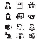 Os ícones dos recursos humanos & da gestão de pessoal ajustaram a ilustração Foto de Stock Royalty Free