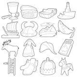 Os ícones dos símbolos do curso da Suécia ajustam, esboçam o estilo Foto de Stock Royalty Free