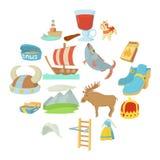 Os ícones dos símbolos do curso da Suécia ajustaram-se, estilo dos desenhos animados Imagem de Stock