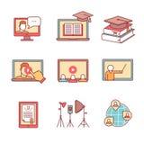 Os ícones em linha do seminário diluem a linha grupo Webinar Imagens de Stock Royalty Free
