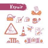 Os ícones esboçados esboço ajustaram o tema da manutenção Linha arte Lápis d Fotos de Stock Royalty Free