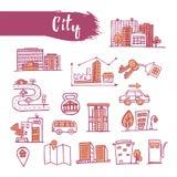 Os ícones esboçados esboço ajustaram o tema urbano Linha cidade da arte Dr. do lápis Foto de Stock Royalty Free