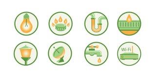 Os ícones esboçam, mostram em silhueta Comunicações, construção, fonte de água, Internet, gás, água, luz, iluminando-se fotografia de stock royalty free