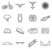 Os ícones extremos do esporte de BMX diluem a linha grupo da ilustração do vetor ilustração royalty free