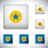 Os ícones favoritos do botão do vetor ajustaram-se marcando um endereço da Internet nos Web site e Imagens de Stock