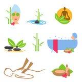 Os ícones fazem massagens, termas, wellness Fotografia de Stock