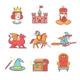 Os ícones feericamente da cauda diluem a linha grupo Fotos de Stock Royalty Free