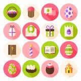 Os ícones felizes do círculo da mola da Páscoa ajustaram-se com sombra longa Imagens de Stock