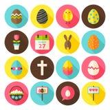 Os ícones felizes do círculo da Páscoa ajustaram-se com sombra longa Fotografia de Stock Royalty Free