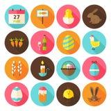 Os ícones felizes do círculo do feriado da Páscoa ajustaram-se com sombra longa Imagens de Stock Royalty Free