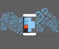 Os ícones fluem no smartphone moderno Imagens de Stock
