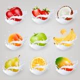 Os ícones grandes da coleção do fruto em um leite espirram Foto de Stock Royalty Free