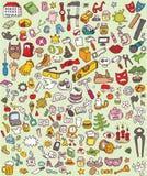 Ícones grandes do Doodle ajustados ilustração royalty free