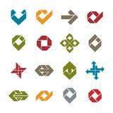 Os ícones incomuns abstratos do vetor ajustaram-se, símbolos criativos Fotos de Stock