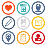 Os ícones isolados ajustaram cuidados médicos e saúde Foto de Stock Royalty Free