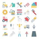 Os ícones isolados construção do vetor ajustados consistem revestimento da segurança, nal, chave inglesa, ferramentas de esboço,  ilustração royalty free