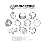 Os ícones isométricos do esboço ajustaram 46 Imagens de Stock Royalty Free