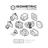 Os ícones isométricos do esboço ajustaram 28 Imagens de Stock Royalty Free