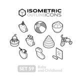 Os ícones isométricos do esboço ajustaram 59 Fotos de Stock Royalty Free