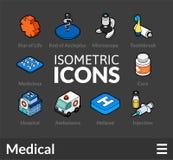 Os ícones isométricos do esboço ajustaram 17 ilustração stock