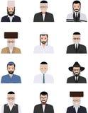 Os ícones judaicos diferentes dos avatars dos caráteres dos homens idosos e novos ajustaram-se no estilo liso no fundo branco dif Imagens de Stock