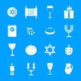 Os ícones judaicos do feriado do Hanukkah ajustaram-se, estilo simples ilustração stock