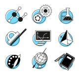 Os ícones lineares da ciência ajustaram lições da escola Imagens de Stock