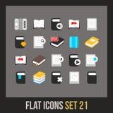 Os ícones lisos ajustaram 21 Imagens de Stock