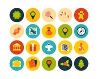 Os ícones lisos ajustaram 3 Imagem de Stock Royalty Free