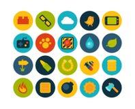 Os ícones lisos ajustaram 4 Fotos de Stock Royalty Free