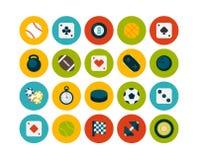 Os ícones lisos ajustaram 12 Imagem de Stock Royalty Free