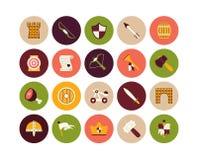 Os ícones lisos ajustaram 30 Imagens de Stock Royalty Free