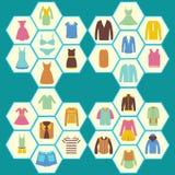 Os ícones lisos ajustaram-se de homens da forma e de roupa das mulheres Fotografia de Stock Royalty Free
