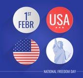 Os ícones lisos ajustaram-se para o dia nacional EUA da liberdade ilustração do vetor
