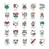 Os ícones lisos chineses do ano novo embalam ilustração royalty free