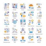 Os ícones lisos da análise de negócio embalam ilustração do vetor