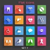 Os ícones lisos da aplicação ajustaram 7 Foto de Stock
