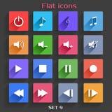 Os ícones lisos da aplicação ajustaram 9 Foto de Stock