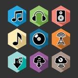 Os ícones lisos da música ajustaram a ilustração Fotografia de Stock