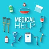 Os ícones lisos da medicina ajustaram o conceito Vetor Imagem de Stock Royalty Free