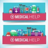 Os ícones lisos da medicina ajustaram o conceito Vetor Fotografia de Stock Royalty Free