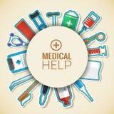Os ícones lisos da medicina ajustaram o conceito Vetor Foto de Stock